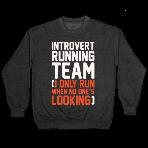 Introvert Running Team White Print Pullover
