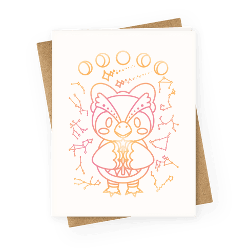 Celestial Astrology Owl Greeting Card