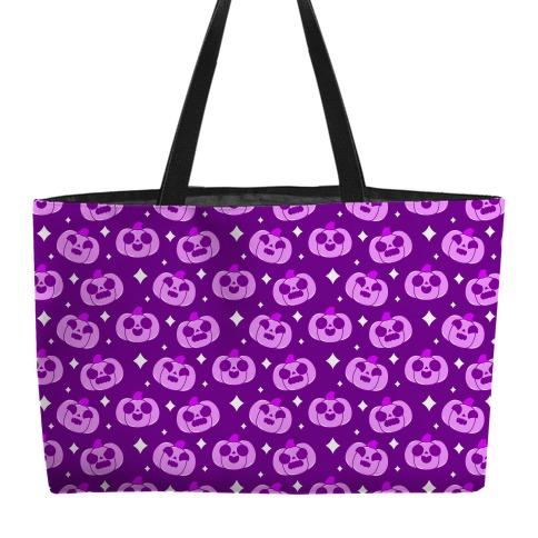 Kawaii Pumpkins Pattern Purple Weekender Tote