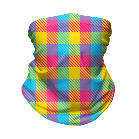 Pan Pride Flag Plaid  Neck Gaiter