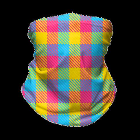 Pan Pride Flag Plaid Neck Gaiter