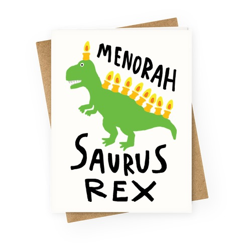 Menorah Saurus Rex Greeting Card