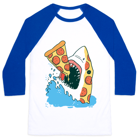 Pizza Shark Baseball Tee