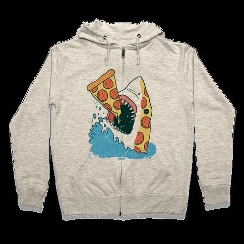 Pizza Shark Zip Hoodie
