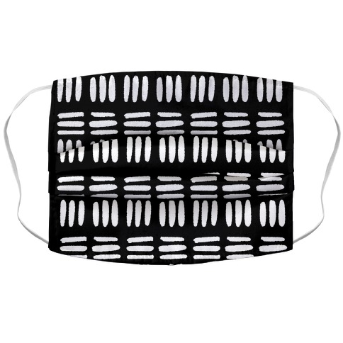 Dashed Lines Black and White Boho Pattern Face Mask Cover