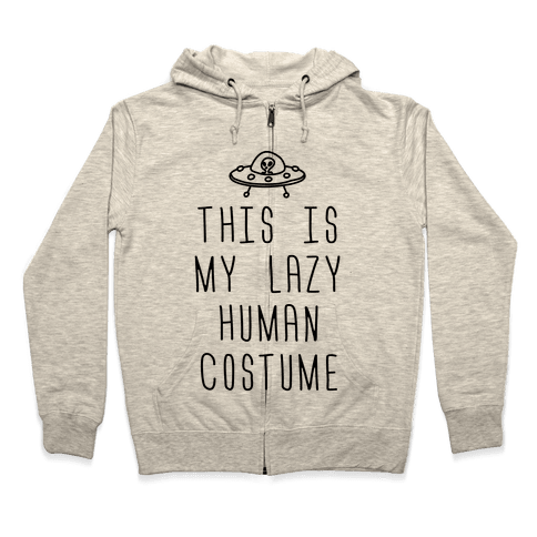 This Is My Lazy Human Costume Zip Hoodie