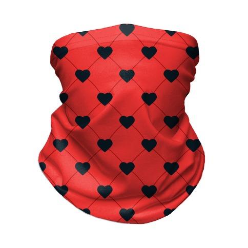 Simple Heart Pattern Red Neck Gaiter