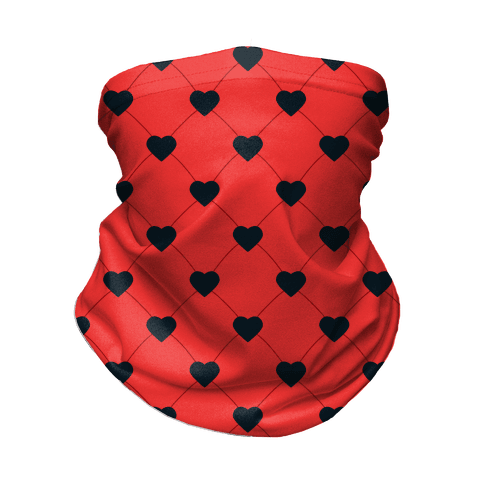 Simple Heart Pattern Red Neck Gaiter