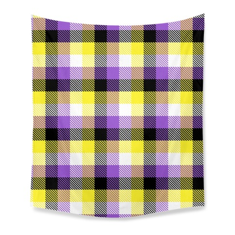 Nonbinary Pride Flag Plaid Tapestry