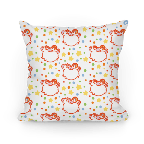 Chubby Unicorn and Rainbow Pattern Pillow