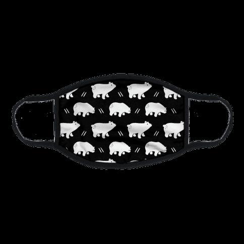 Bear Black and White Boho Pattern Flat Face Mask