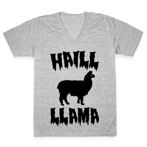 Haill Llama Parody V-Neck Tee Shirt