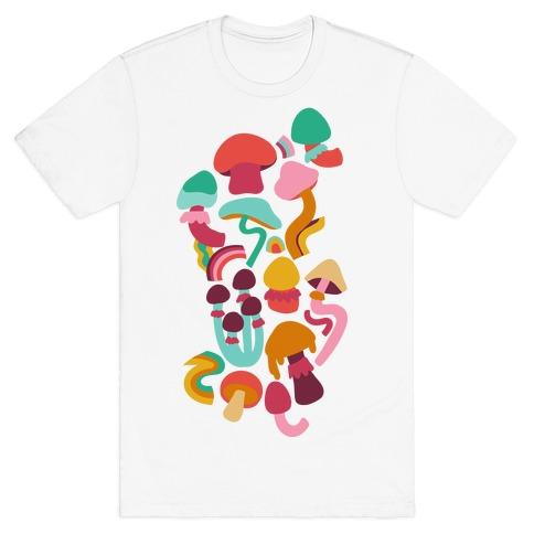 Retro Groovy Mushroom Pattern T-Shirt