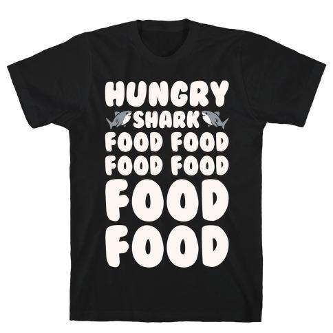 Hungry Shark Baby Shark Parody White Print T-Shirt