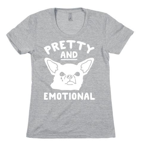 Pretty and Emotional White Print Womens T-Shirt