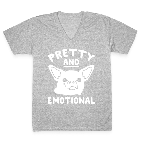 Pretty and Emotional White Print V-Neck Tee Shirt