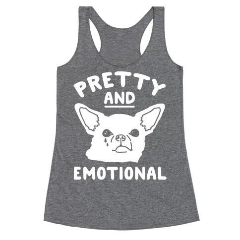 Pretty and Emotional White Print Racerback Tank Top