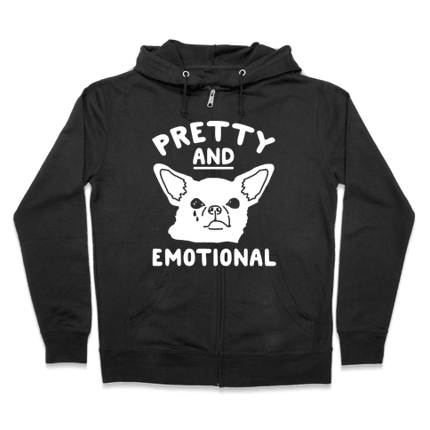Pretty and Emotional White Print Zip Hoodie
