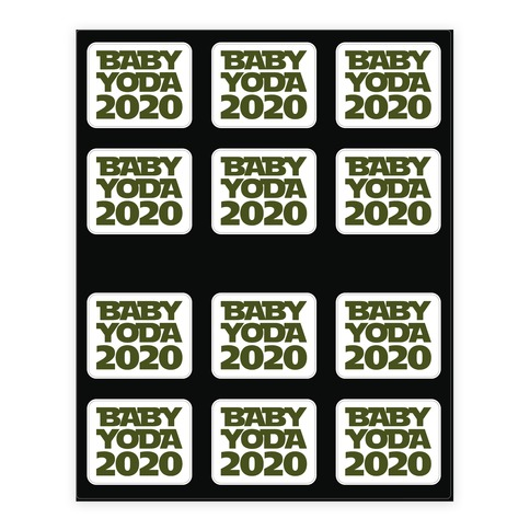 Baby Yoda 2020 Parody Sticker/Decal Sheet