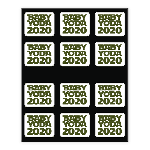 Baby Yoda 2020 Parody Sticker and Decal Sheet