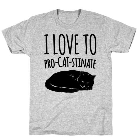 I Love To Pro-Cat-Stinate Cat Parody T-Shirt