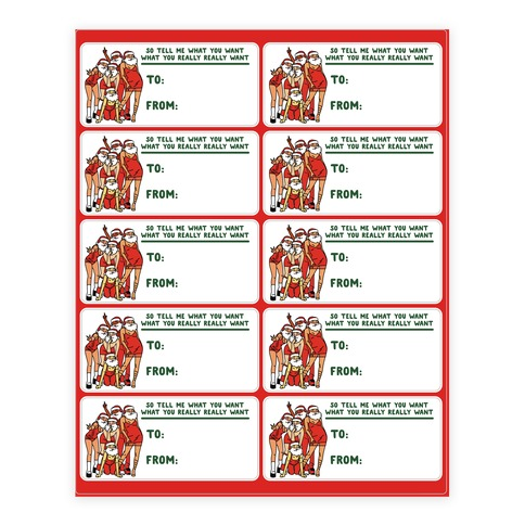 Tell Me What You Want Santa Spice Gift Tags Sticker and Decal Sheet