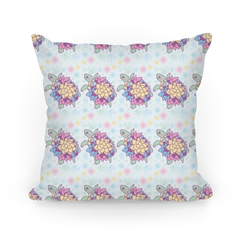 Pastel Succulent Turtle Pillow