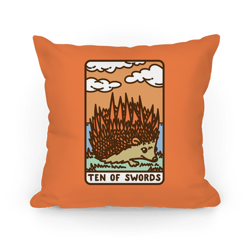 Ten of Swords HedgeHog Tarot Parody Pillow