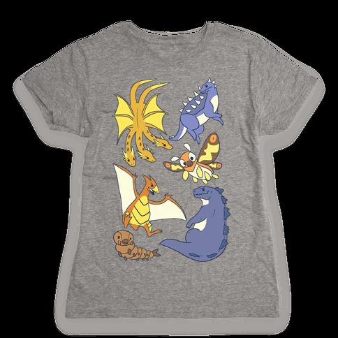 Godzilla and Friends Pattern Womens T-Shirt