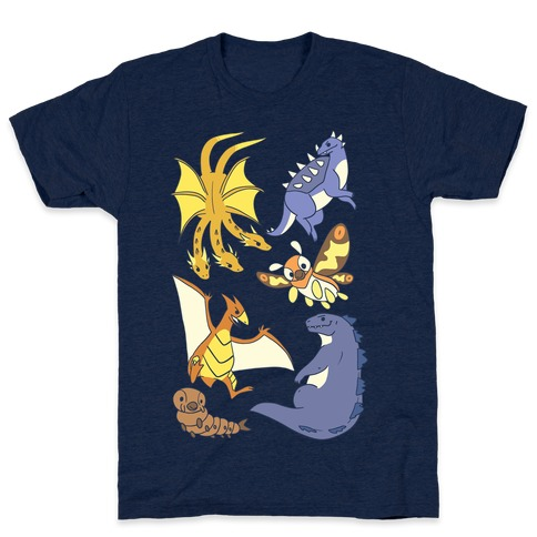 Godzilla and Friends Pattern Mens T-Shirt