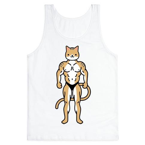 Buff Cat White Brown Grey Tank Top