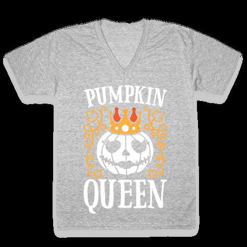 Pumpkin Queen (White) V-Neck Tee Shirt