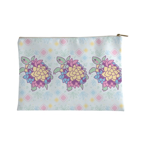 Pastel Succulent Turtle Accessory Bag