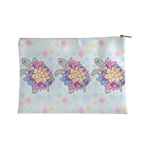 Pastel Succulent Turtle Accessory Bag