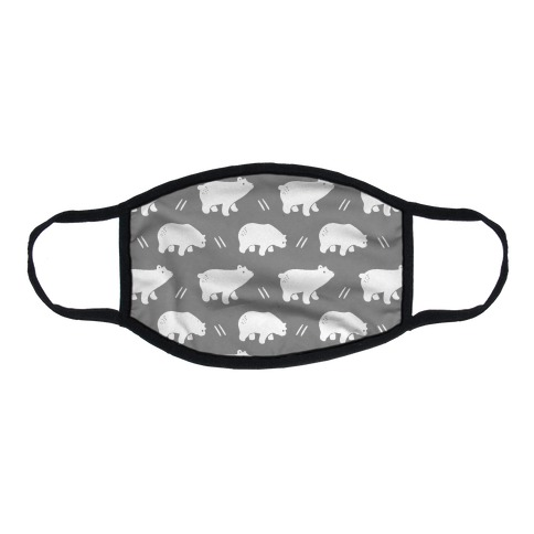 Bear Grey Boho Pattern Flat Face Mask