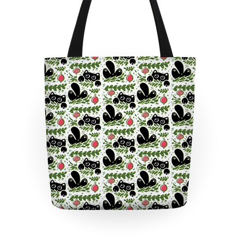 Cat In Christmas Tree Pattern Tote