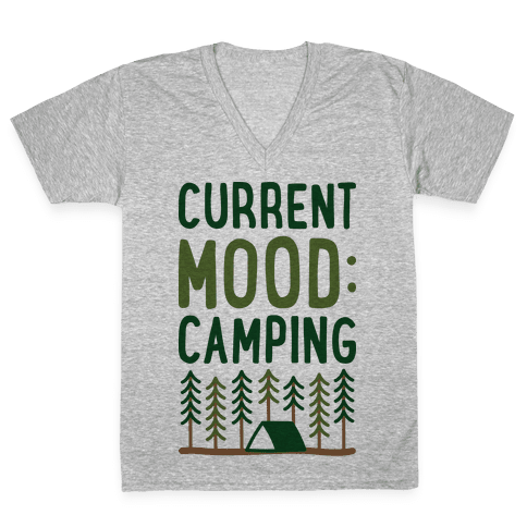 Current Mood: Camping (CMYK) V-Neck Tee Shirt