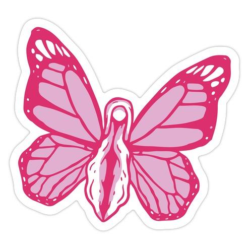 Pink Butterfly Vagina  Die Cut Sticker