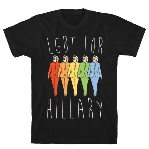 LGBT For Hillary White Print T-Shirt