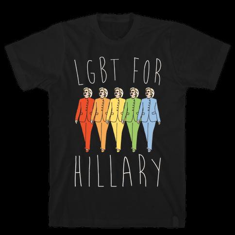 LGBT For Hillary White Print Mens T-Shirt