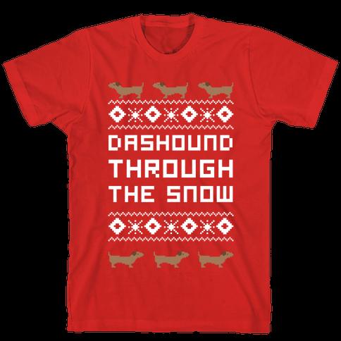 Dashound Through the Snow Mens T-Shirt