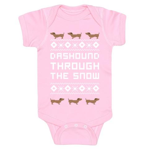 Dashound Through the Snow Baby Onesy