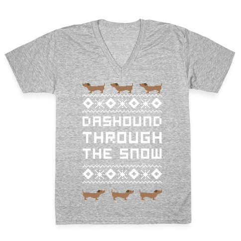 Dashound Through the Snow V-Neck Tee Shirt