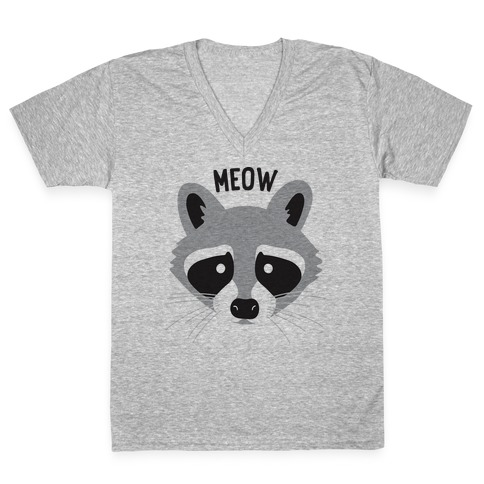 Meow Raccoon V-Neck Tee Shirt