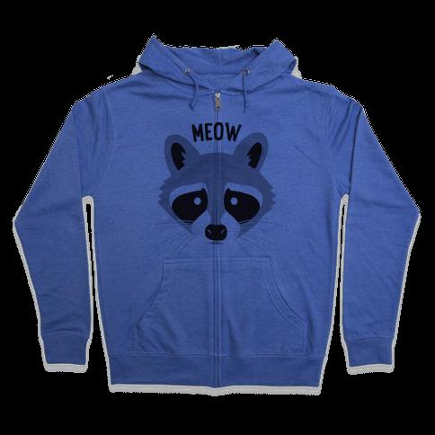 Meow Raccoon Zip Hoodie