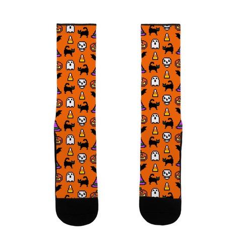 Pixel Halloween Pattern Sock
