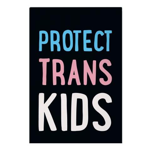 Protect Trans Kids White Print Garden Flag