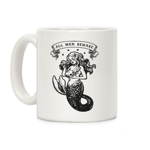 All Men Beware Vintage Mermaid Coffee Mug