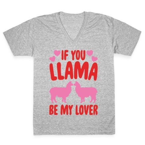 If You Llama Be My Love White Print V-Neck Tee Shirt