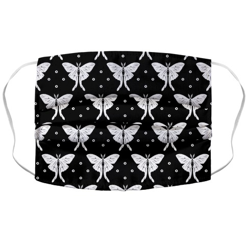 Luna Moth Black and White Boho Pattern Face Mask Cover